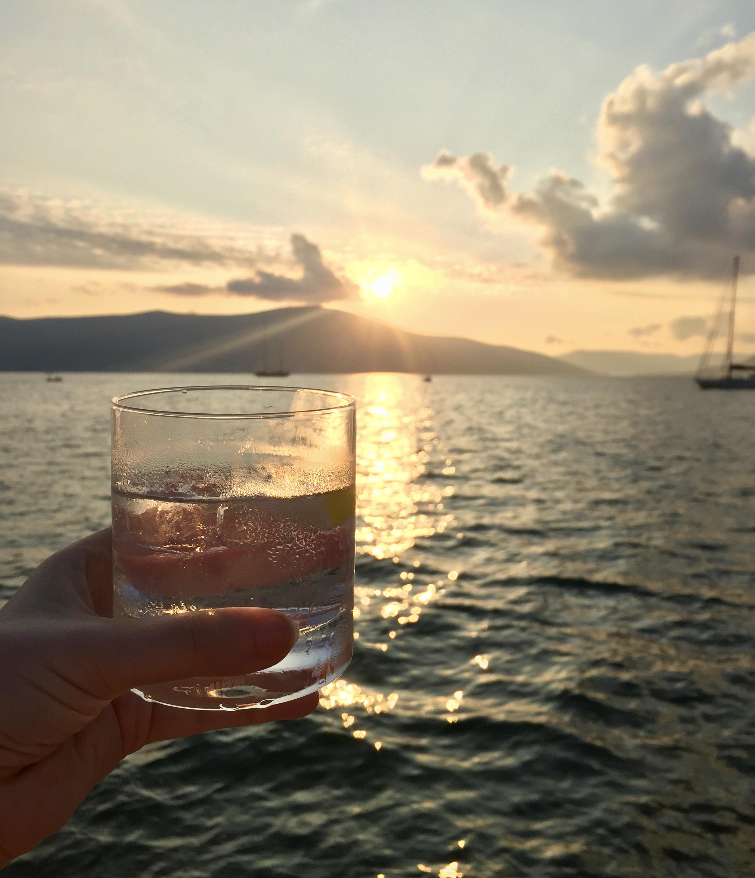 gintonic Tivat Montenegro sunset